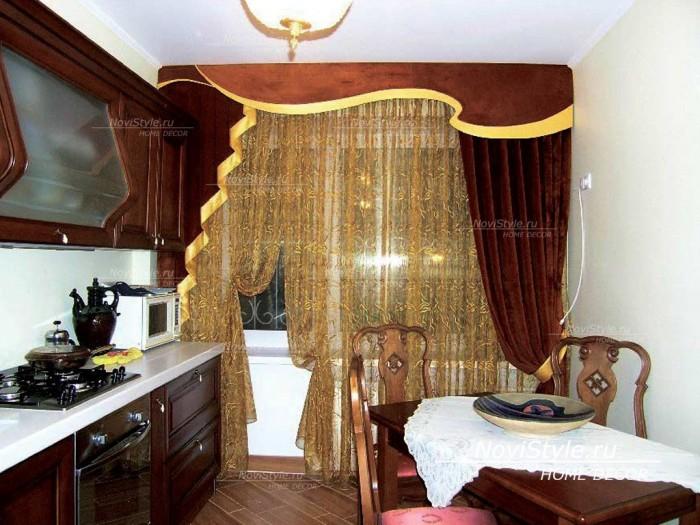 Ламбрекен и шторы на кухню