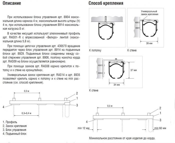 Описание подьемного механизма для римских штор
