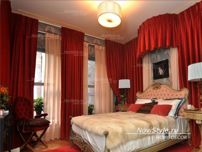 Красные шторы в спальню