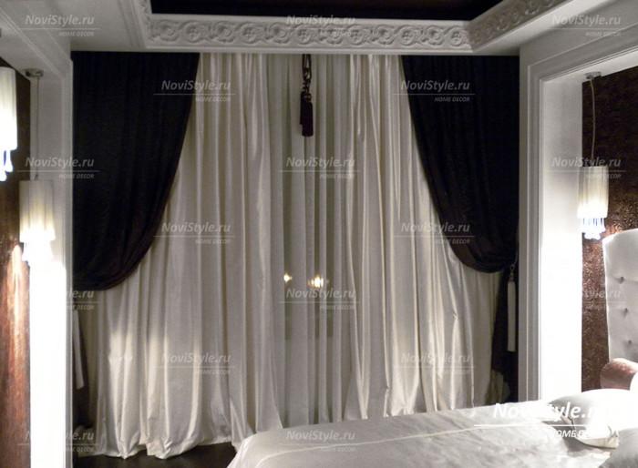 Классические черные шторы в спальню
