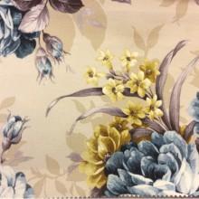 Ткань для штор Kamil A Blue 20 цветочный орнамент. Принт.