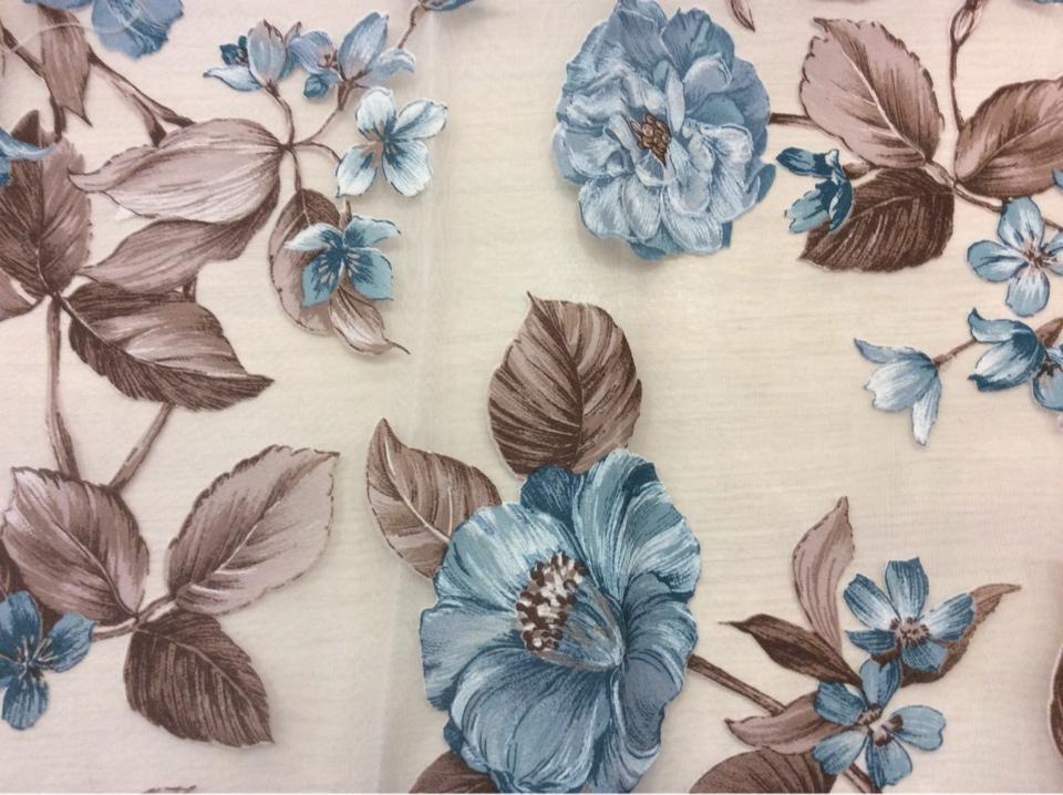 Принтовая цветочная ткань для занавесок Candi Devore Turquoise 23