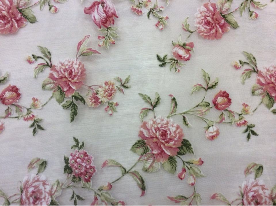 Ткань для штор органза с цветами Gospa Coord Devore 12