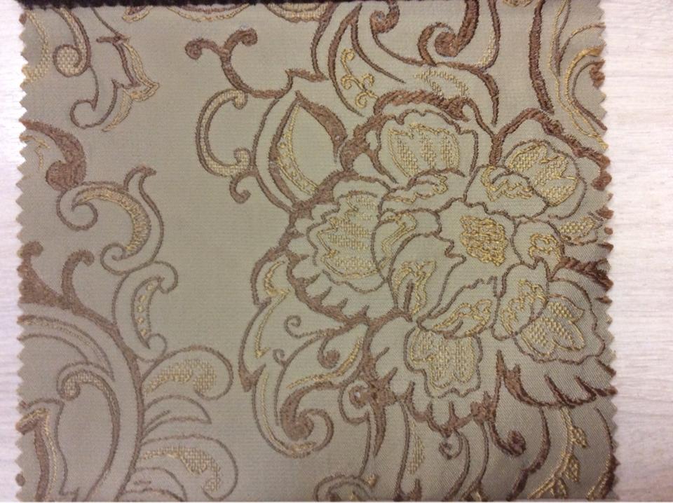 Ткань хлопковая На оливковом фоне коричневато-золотистый орнамент Турция купить