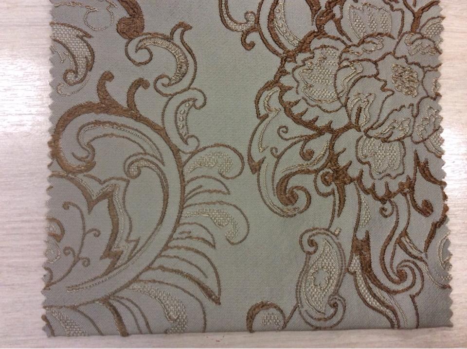 Хлопковая ткань для штор Турция На бледно-зелёном фоне коричневый орнамент