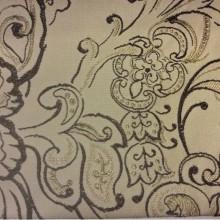 Хлопковая портьерная ткань для штор Rosetta 3. На бежевом фоне коричневый орнамент