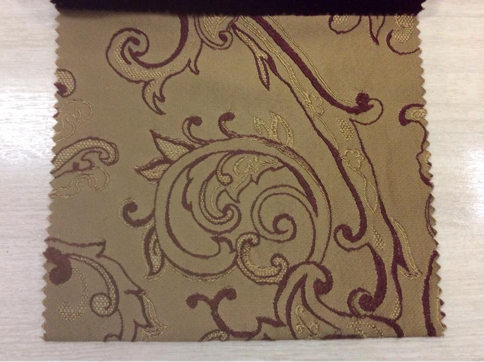 Портьерная ткань для шторы На бежевом фоне красный орнамент