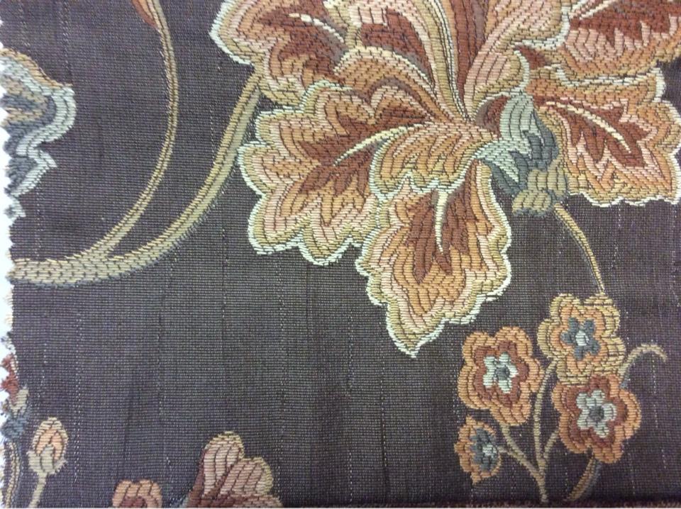 Вискоза ткань купить На буром фоне терракотовый орнамент