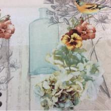Хлопковая ткань для штор Colibri col 4. Испания, бежевый фон, терракотовые и голубые цветы