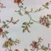 Хлопковая ткань для штор с цветами Provance col 1. Испания. Светлый фон, терракотовые цветы