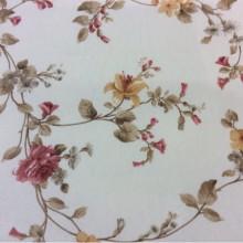 Портьерная ткань для штор из хлопка Provance col 2. Испания. На светлом фоне розовые с жёлтым цветы