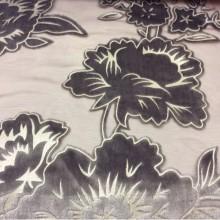 Итальянская ткань из хлопка Fiore col 140. На бордовом фоне серебристые цветы (набивка)