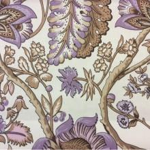 Портьерная ткань из хлопка 2435/41. На светлом фоне коричневые, сиреневые цветы