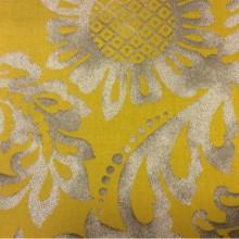 Яркая ткань из хлопка 2436/90. Испания, На жёлтом фоне серый орнамент