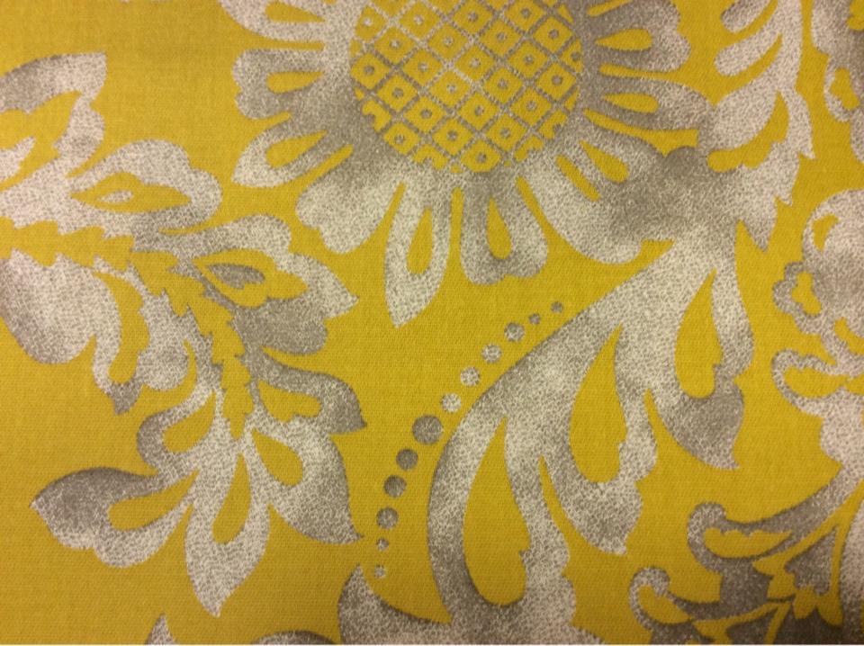 Яркая хлоковая ткань из Испании На жёлтом фоне серый орнамент
