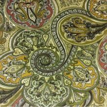 Хлопковая ткань, фланель, вискоза 2439/57. Зелёный, терракотовый цвет, Испания
