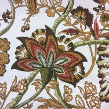 Хлопок, портьерная ткань с красивым принтом 2435/38. Испания, На белом фоне зелёный, красный орнамент