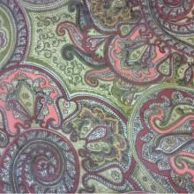 Микровуаль в стиле турецкие огурцы 2440/38. Испания, стиль пейсли. Зелёный, красный цвет орнамента