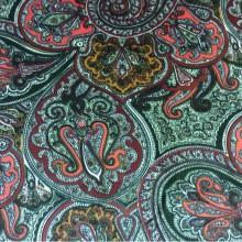 Фланель, хлопковая портьерная ткань 2439/38. Испания. Зелёный, красный цвет орнамента