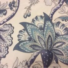 Тюль микровуаль 2441/73. Ткань в стиле пейсли, На прозрачном фоне синие цветы