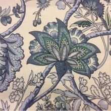Портьерная ткань из хлопка 2435/73. Испания, на белом фоне голубые цветы