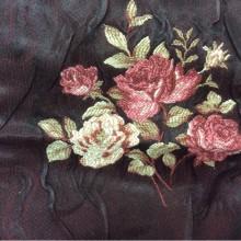 Жаккард, атласная ткань для штор Rubens 1. Турция. На бордовом фоне цветы