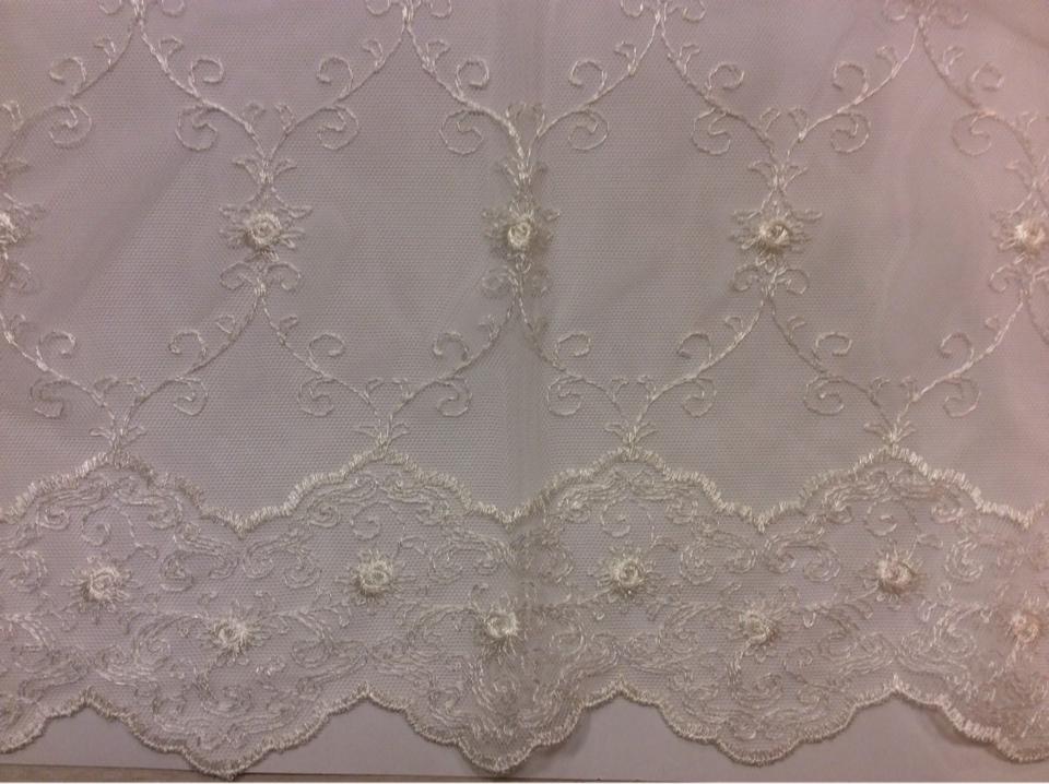 Прозрачная французская сетка ткань с вышивкой Anamur 2. Турция, ванильного цвета купить на заказ