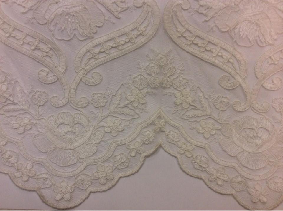 Красивая тюль французская сетка с вышивкой Sandra 2. Турция, ванильного цвета купить, заказать в Москве