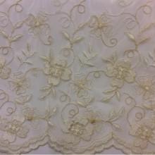 Турецкая тюль. Французская сетка с вышивкой 3261 V.60. Кремовый цвет, цветочный узор, вышивка