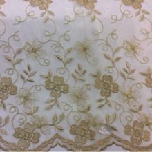 Тюль с цветами. Французская сетка с вышивкой 3261 V. 63. Турция, золотистого цвета, цветочный узор