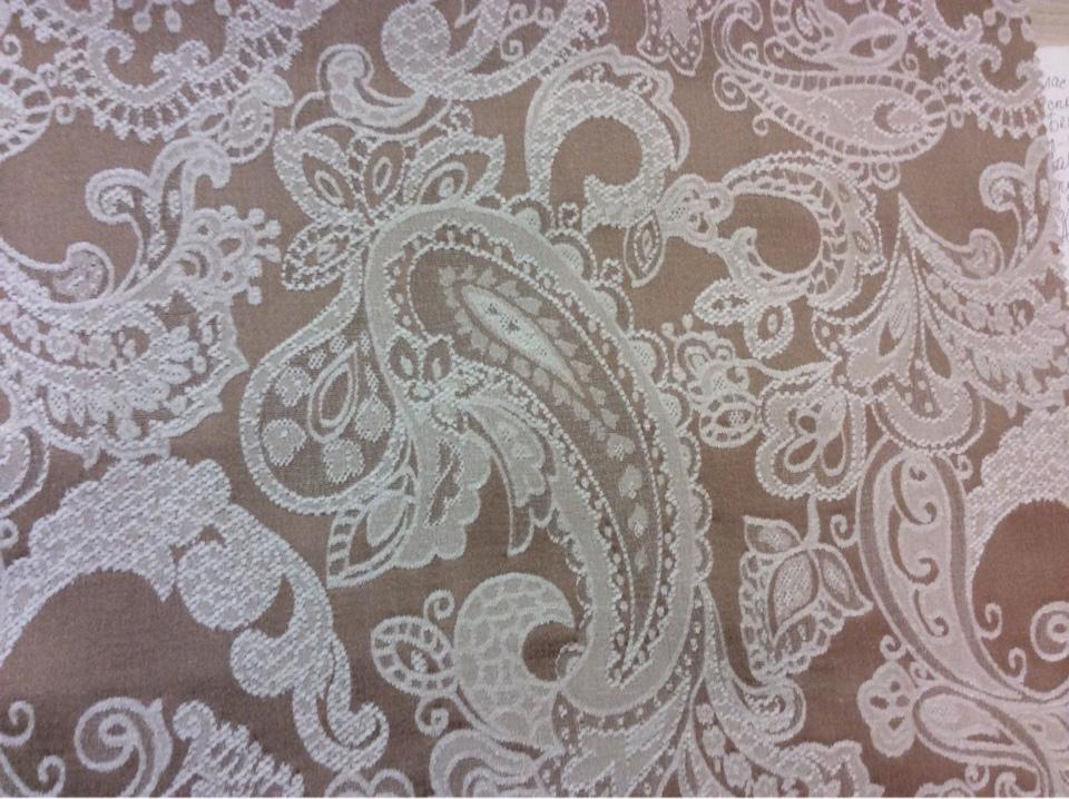 Шенил, атлас, европейская ткань 2332/23. Испания, цвет какао, стиль классика, пейсли