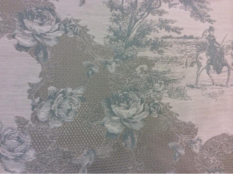 Хлопок, гобелен, ткань в стиле жуи, прованс 2330/41. Европа, Испания, Серо-зелёный орнамент