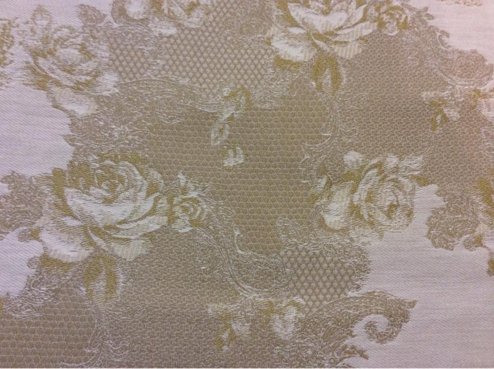 Ткань из хлопка, гобелен в стиле прованс, жуи 2330/51. Испания, Европа. Серо-горчичный орнамент