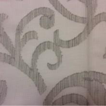 Акрил шерстяная тюль для штор Lanate, цвет Gris 06. Европа, Испания, тюлевая ткань. Серый фон, завитки в стиле арт-нуво, классика