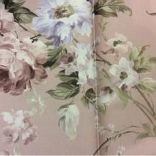 Ткань блэкаут Gulce 1035. Турция, светонепроницаемая ткань для римских и рулонных штор.  Персиковый фон, бордовые и голубые цветы ( акварель)
