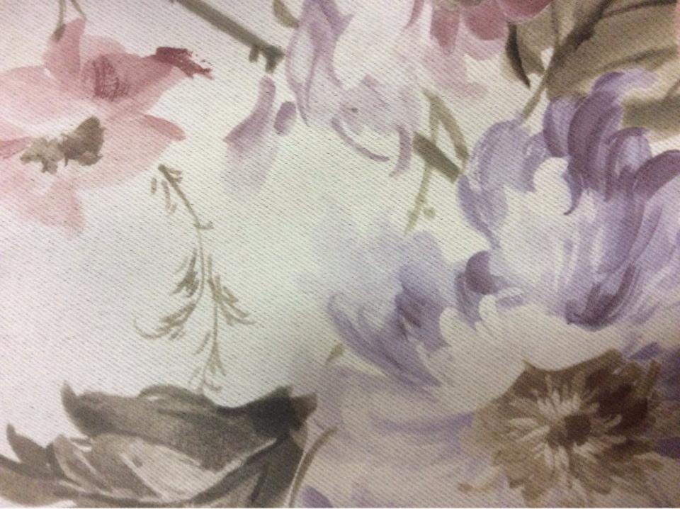 Купить ткань блэкаут Gulce 1095. Турция, светонепроницаемая ткань для штор на заказ. На сером фоне розовые, голубые цветы купить заказать в Мосвке