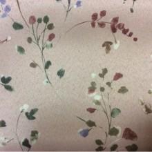 Светонепроницаемая ткань для штор блэкаут Eliza 1054. Турция, портьерная, для рулонных и римских штор. На розовом фоне зелёные, бордовые мелкие цветы ( акварель)