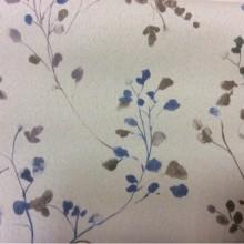 Ткань блэкаут для рулонных штор Elisa 1055. Турция, светонепроницаемая, портьерная ткань. На сером фоне мелкие синие цветы ( акварель)