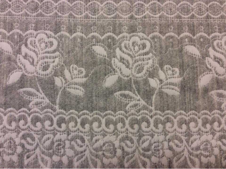 """Портьерная ткань для покрывала из хлопка и шерсти Dorset, цвет Gris 06. Европа, Испания, двухсторонняя. Серый фон """"русский орнамент"""" заказать в интернет-магазине"""