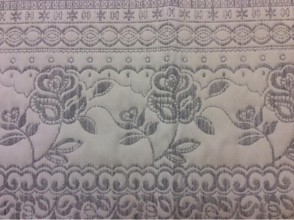 """Портьерная ткань для покрывала из хлопка и шерсти Dorset, цвет Gris 06. Европа, Испания, двухсторонняя. Серый фон """"русский орнамент"""" купить в Москве"""