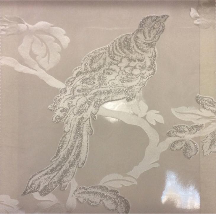 Итальянский тюль из органзы в стиле барокко Botticelli 29. Италия, Европа, тонкий тюль. На прозрачном фоне тёмно-серебристая птица с блеском купить в Москве