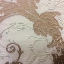 Дорогая ткань для штор в стиле барокко Botticelli 07. Европа, Италия, портьерная. Салатово-коричневый фон