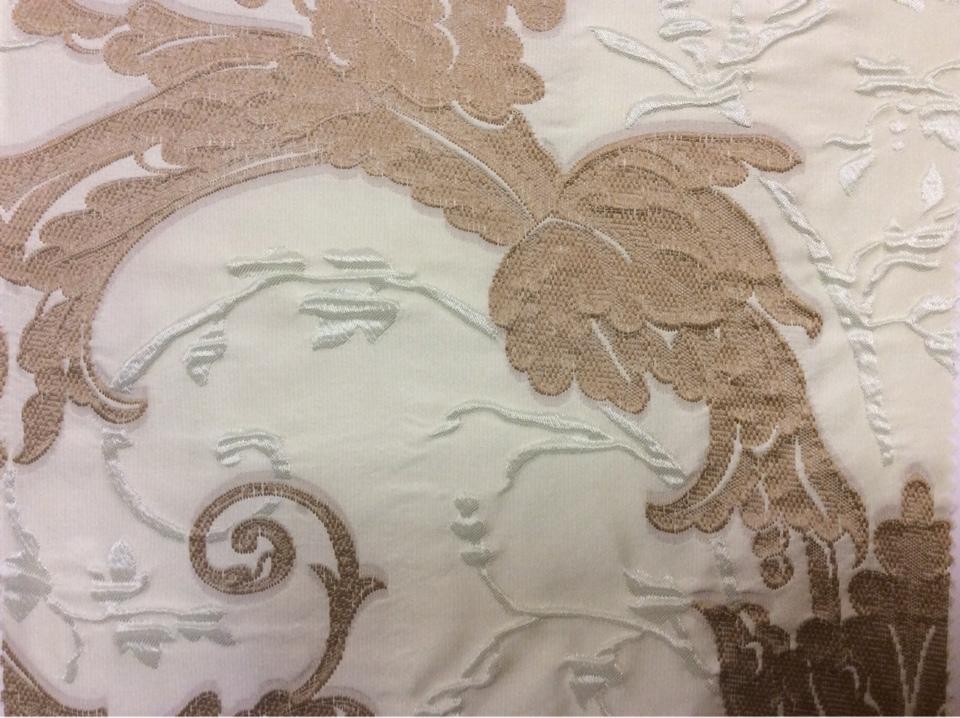 Дорогая ткань для штор в стиле барокко Botticelli 07. Европа, Италия, портьерная. Салатово-коричневый фон. Заказать в интернет магазине Москвы
