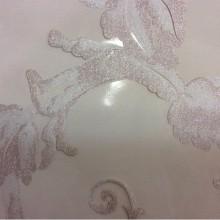 Элитная итальянская тюль в стиле барокко Botticelli 09. Италия, Европа, тюлевая. На прозрачном фоне розовато-сиреневый принт с блеском