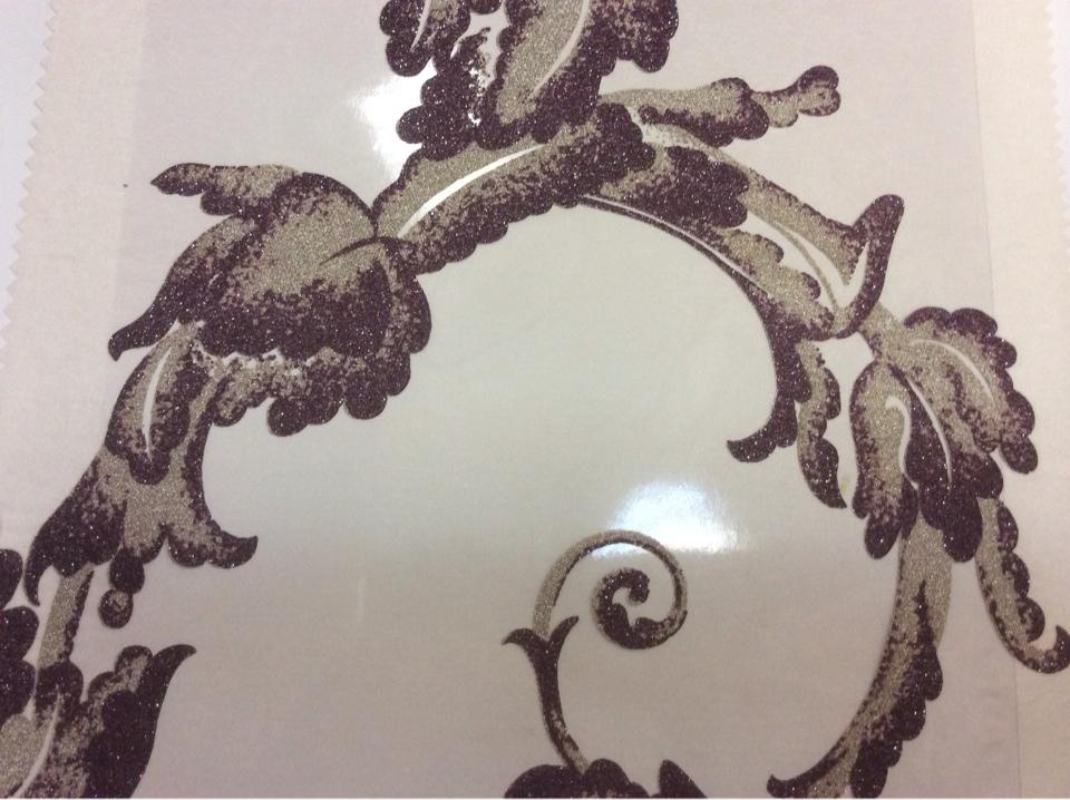 Элитный тюль из Италии Botticelli 12. Италия, Европа, тонкий тюль. На прозрачном фоне аметистовый принт с блеском купить в Москве