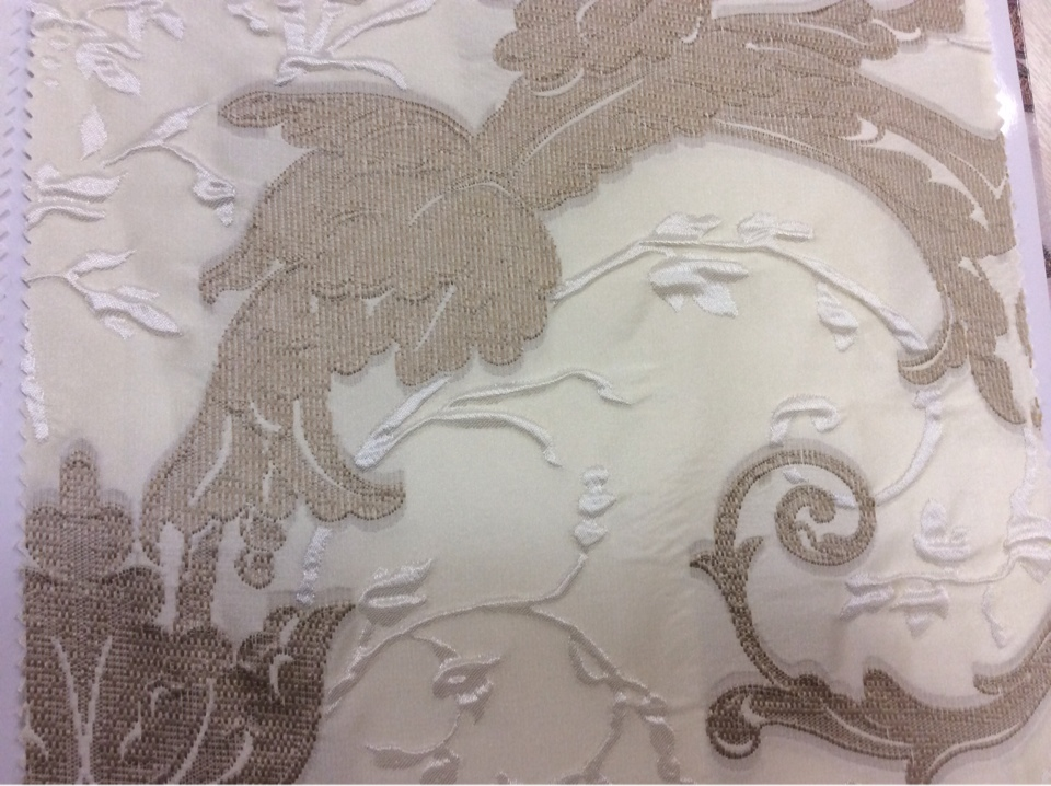 Итальянская портьерная ткань из вискозы Botticelli 14. Европа, Италия, барокко. На кремовом фоне бежевый орнамент купить в интернете