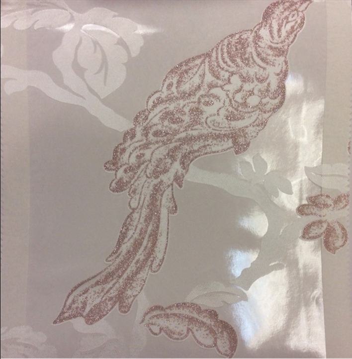 Красивый тюль в стиле барокко Botticelli 24. Европа, Италия, тонкий тюль. На прозрачном фоне розовато-сиреневая птица с блеском купить