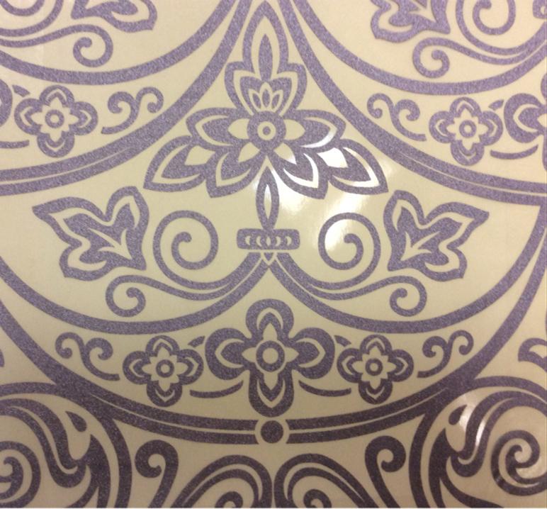Итальянская тонкая тюль в стиле барокко Belvedere 16. Европа, Италия. На прозрачном фоне сиреневый орнамент купить