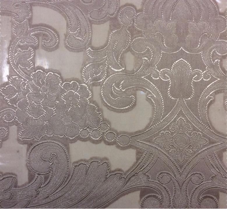 Красивый тюль в стиле барокко Belvedere 01. Италия, Европа, тонкий тюль из вискозы и органзы. Розовато-серебристый орнамент купить в Москве