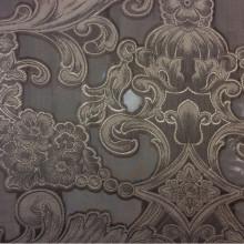 Элитная итальянская ткань барокко (рисунок купонный) Belvedere 02. Европа, Италия, тонкий тюль. На чёрном фоне серебристый орнамент